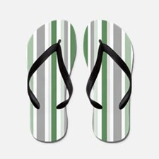 Green, Grey & White: Stripes Pattern (V Flip Flops
