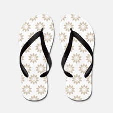 Ten Petal Flower Pattern (Beige & White Flip Flops