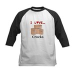 I Love Crocks Kids Baseball Jersey
