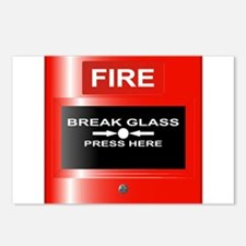 Fire Emergency Red Button Postcards (Package of 8)