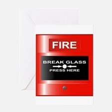 Fire Emergency Red Button Greeting Cards