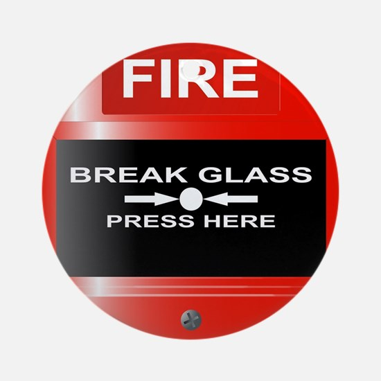 Fire Emergency Red Button Round Ornament