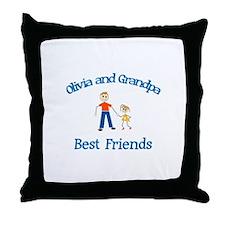 Olivia & Grandpa - Best Frien Throw Pillow