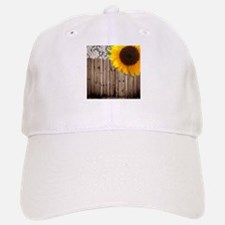 rustic barn yellow sunflower Baseball Baseball Cap