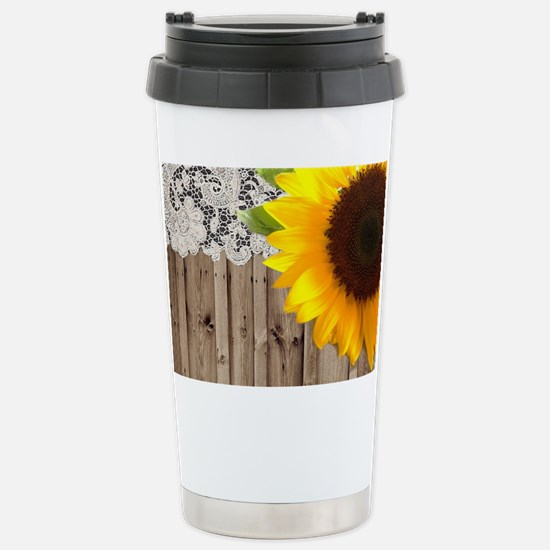 rustic barn yellow sunf Stainless Steel Travel Mug