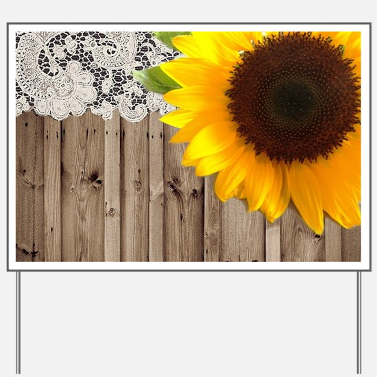 rustic barn yellow sunflower Yard Sign