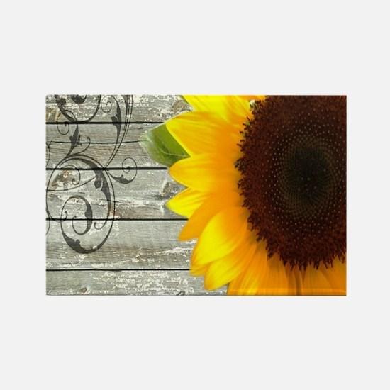 sunflower primitive barn board Magnets