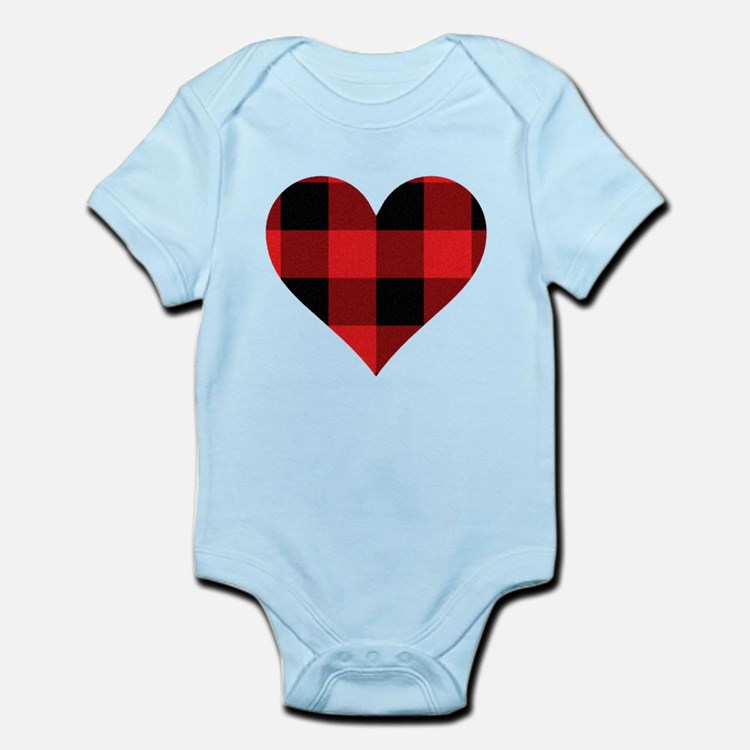 Red PLaid Heart Body Suit