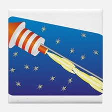 Orange & White Fireworks Rocket Tile Coaster