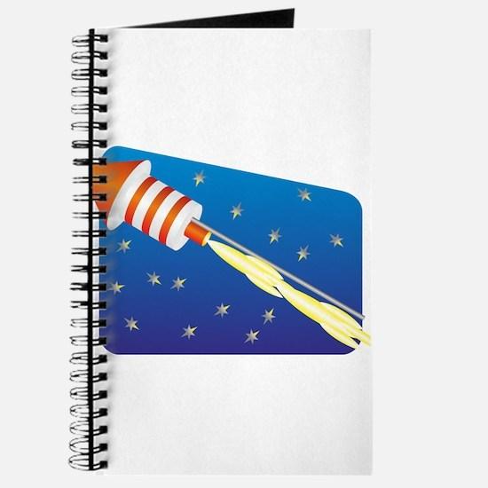 Orange & White Fireworks Rocket Journal