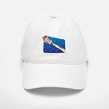 Orange & White Fireworks Rocket Baseball Baseball Cap