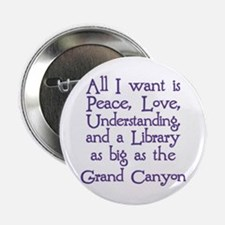 "Peace Love Library 2.25"" Button"