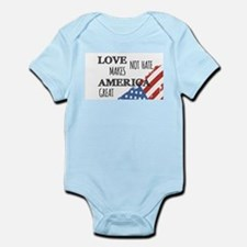 Love Not Hate Makes America Great Body Suit