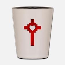 Ruby Red Heart Cross - Shot Glass
