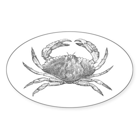 Crab Net Oval Sticker