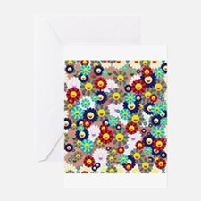 Superflat Flowers Greeting Card