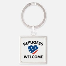 Refugees Welcome Square Keychain