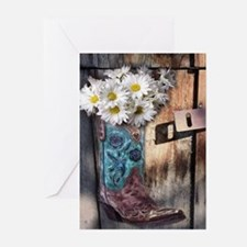 rustic daisy western country cowgir Greeting Cards
