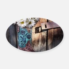 rustic daisy western country cowgi Oval Car Magnet