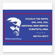 "Trump: Muzzle the News, Square Car Magnet 3"" x 3"""
