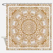 Orange Mediterranean Tile Pattern Shower Curtain