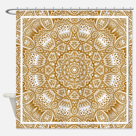 Orange Mediterranean Tile Pattern Shower Curtain
