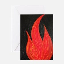 Flames Licking The Night Greeting Cards