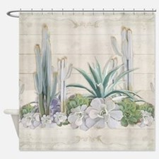 Western Boho Desert Cactus Succulen Shower Curtain