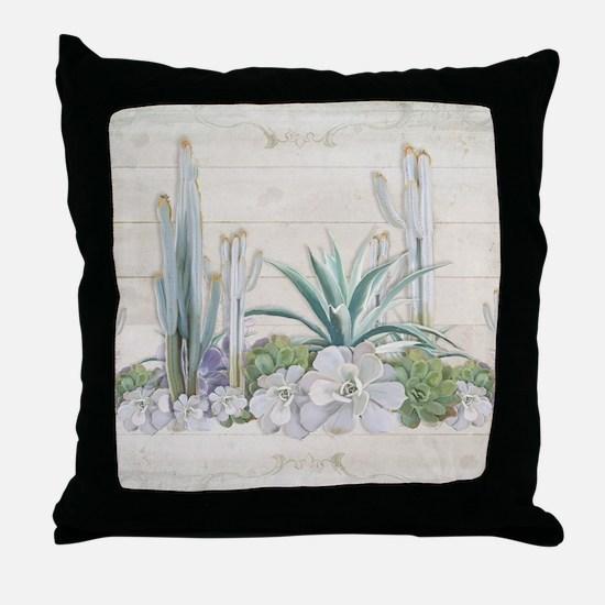 Western Boho Desert Cactus Succulent Throw Pillow