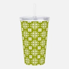 Yellow & White Floral Acrylic Double-wall Tumbler