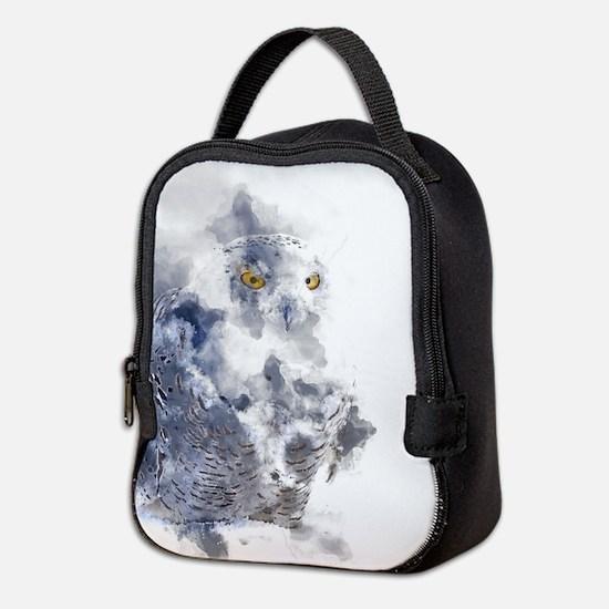 Snowy Owl Watercolor Neoprene Lunch Bag