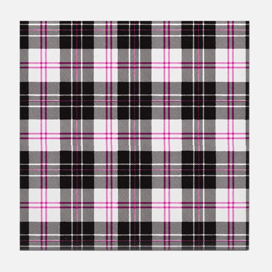 Rustic Plaid Pattern: Pink Tile Coaster