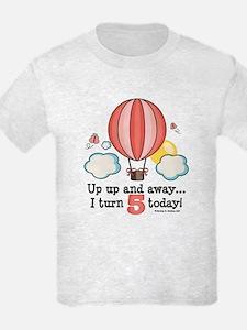 Fifth 5th Birthday Hot Air Balloon T-Shirt