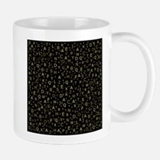 Gold colored letters from a to z on colored s Mugs