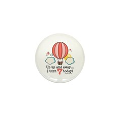 Seventh 7th Birthday Hot Air Balloon Mini Button (