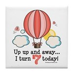 Seventh 7th Birthday Hot Air Balloon Tile Coaster