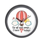 Seventh 7th Birthday Hot Air Balloon Wall Clock