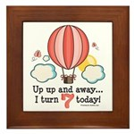 Seventh 7th Birthday Hot Air Balloon Framed Tile