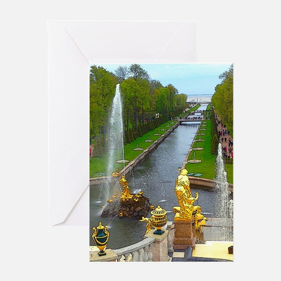 Rising Waters And Gold Greeting Cards