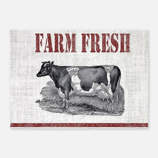 Country Chic Cow Farmhouse 5'x7'Area Rug