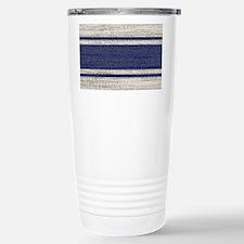 farmhouse blue striped Travel Mug