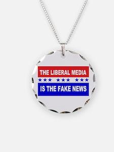 Liberal Fake News Necklace Circle Charm