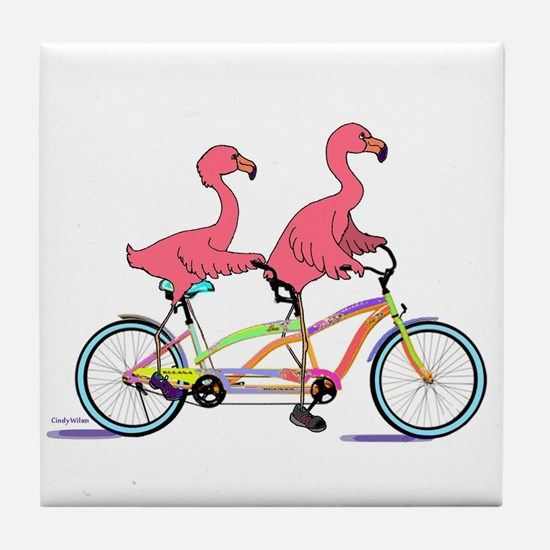 Tandem Flamingos Tile Coaster