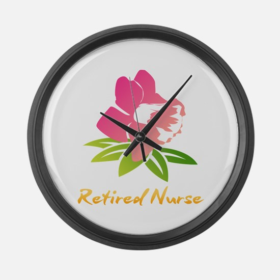 Retired Nurse Flower Large Wall Clock