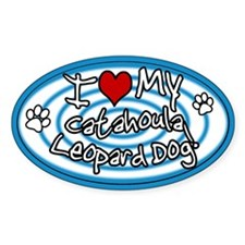Hypno I Love My Catahoula Oval Sticker Blue