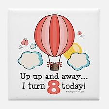 Eighth 8th Birthday Hot Air Balloon Tile Coaster