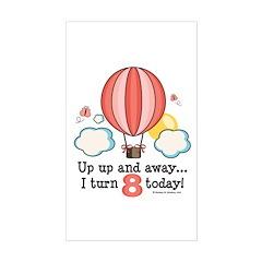 Eighth 8th Birthday Hot Air Balloon Decal