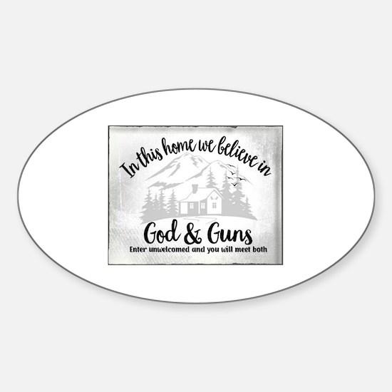 Unique Gun warning Sticker (Oval)
