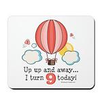 Ninth 9th Birthday Hot Air Balloon Mousepad