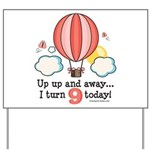 Ninth 9th Birthday Hot Air Balloon Yard Sign